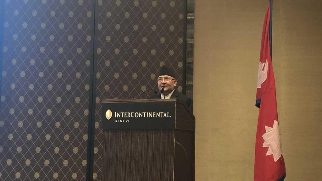 जेनेभास्थित नेपाली समुदायलाई सम्बोधन गर्दै । उहाँ अन्तर्राष्ट्रिय श्रम सङ्गठन (आइएलओ) को शतवार्षिकी समारोहमा सहभागी