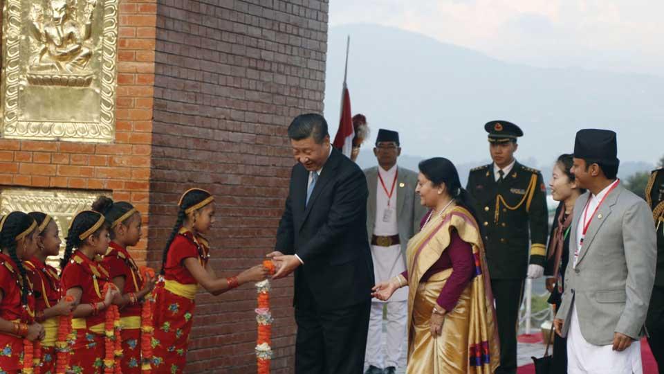 बालबालिकाले चिनियाँ भाषामा सीको स्वागत गर्दा... president