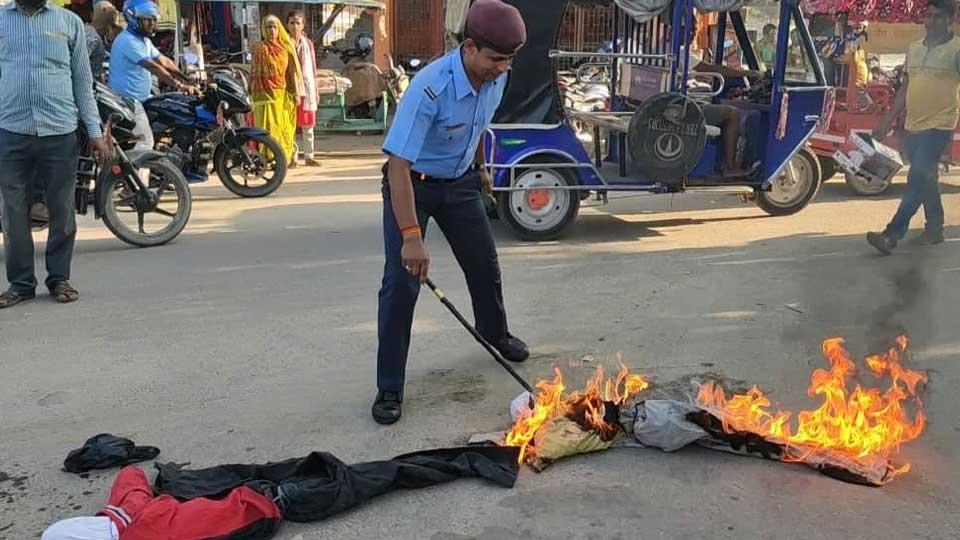 मोदीसँगै प्रम ओलीको पुत्ला दहन - The Times Of Nepal